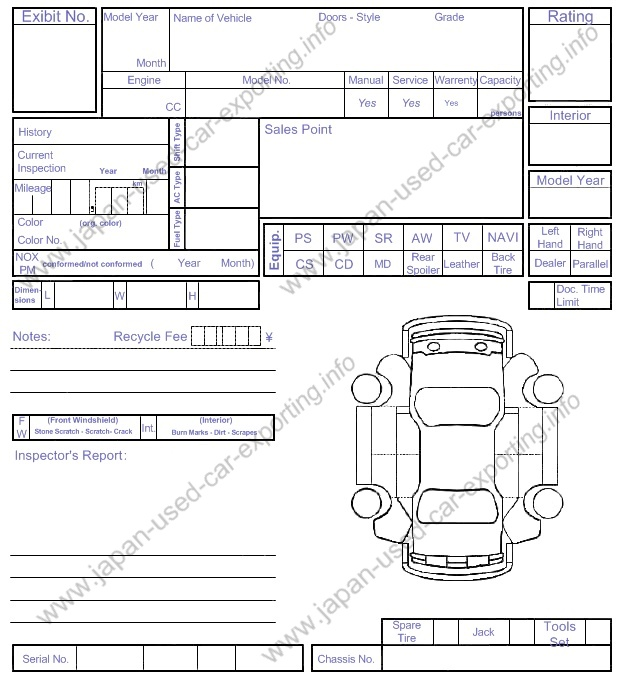 Japanese Used Car Exporting Arai Inspection Sheet Example